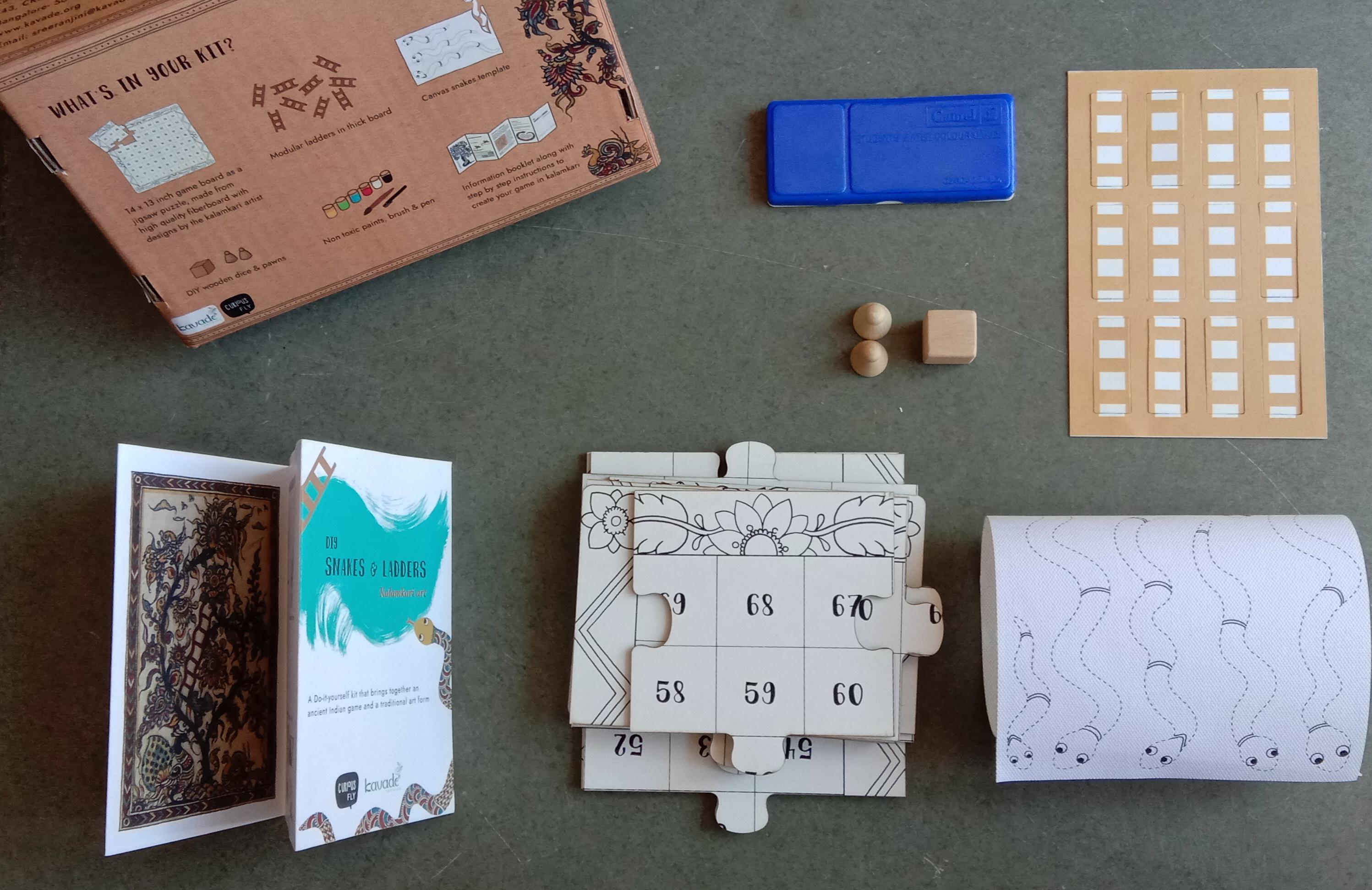 DIY Snakes & Ladders Jigsaw puzzle kit: Kalamkari art