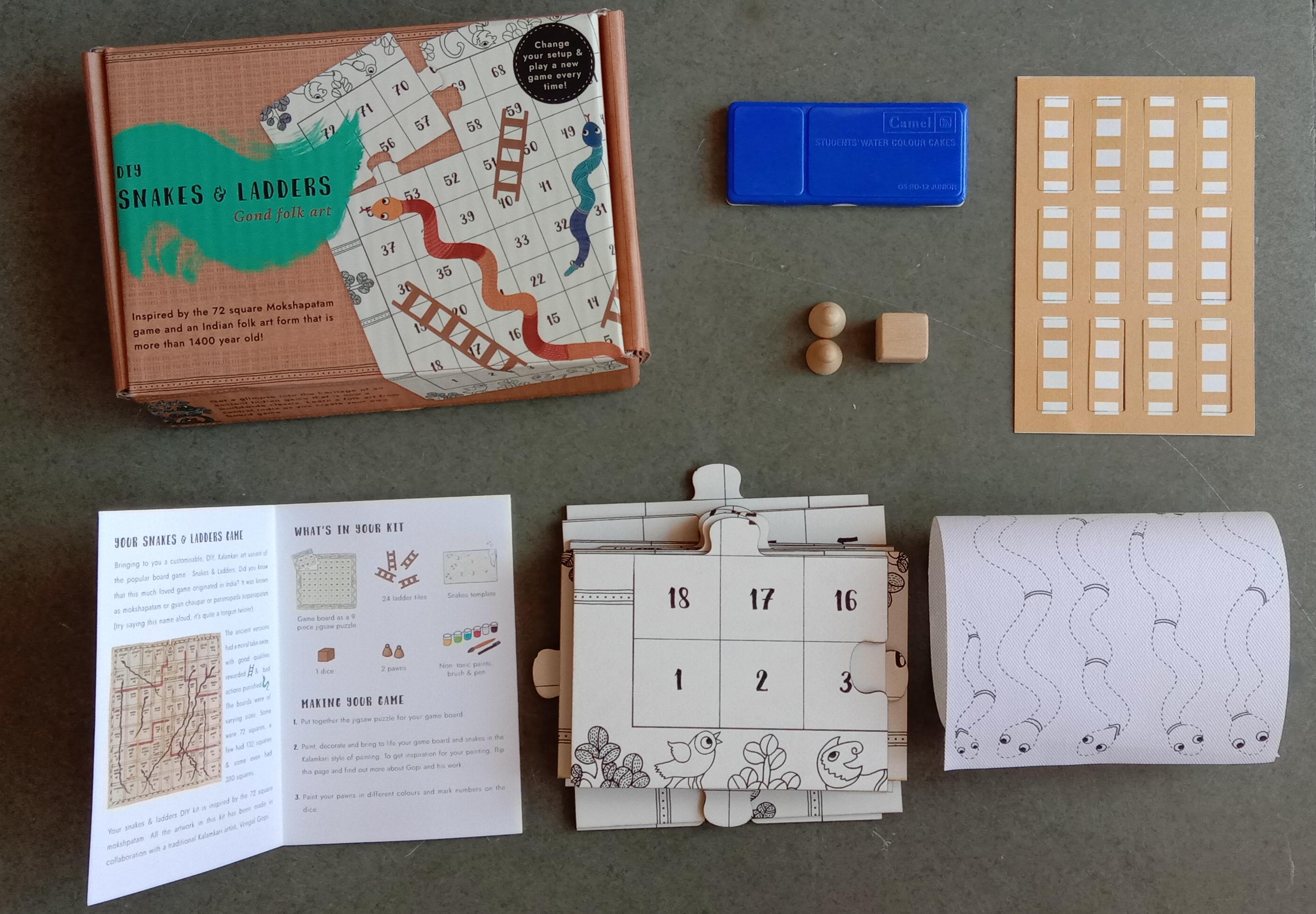 DIY Snakes & Ladders Jigsaw puzzle kit: Gond art