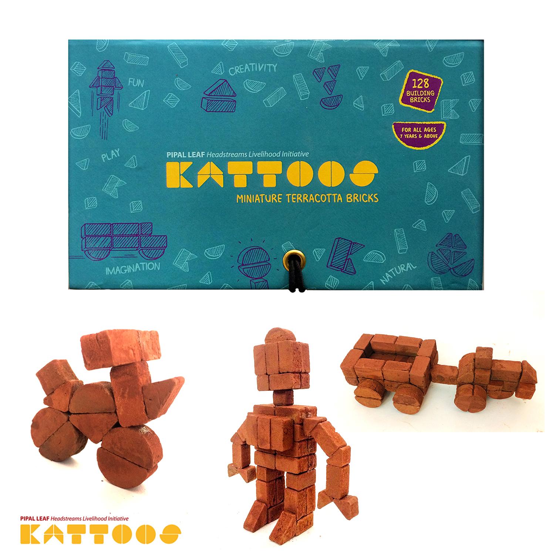 Miniature Terracotta Bricks, 128 bricks.