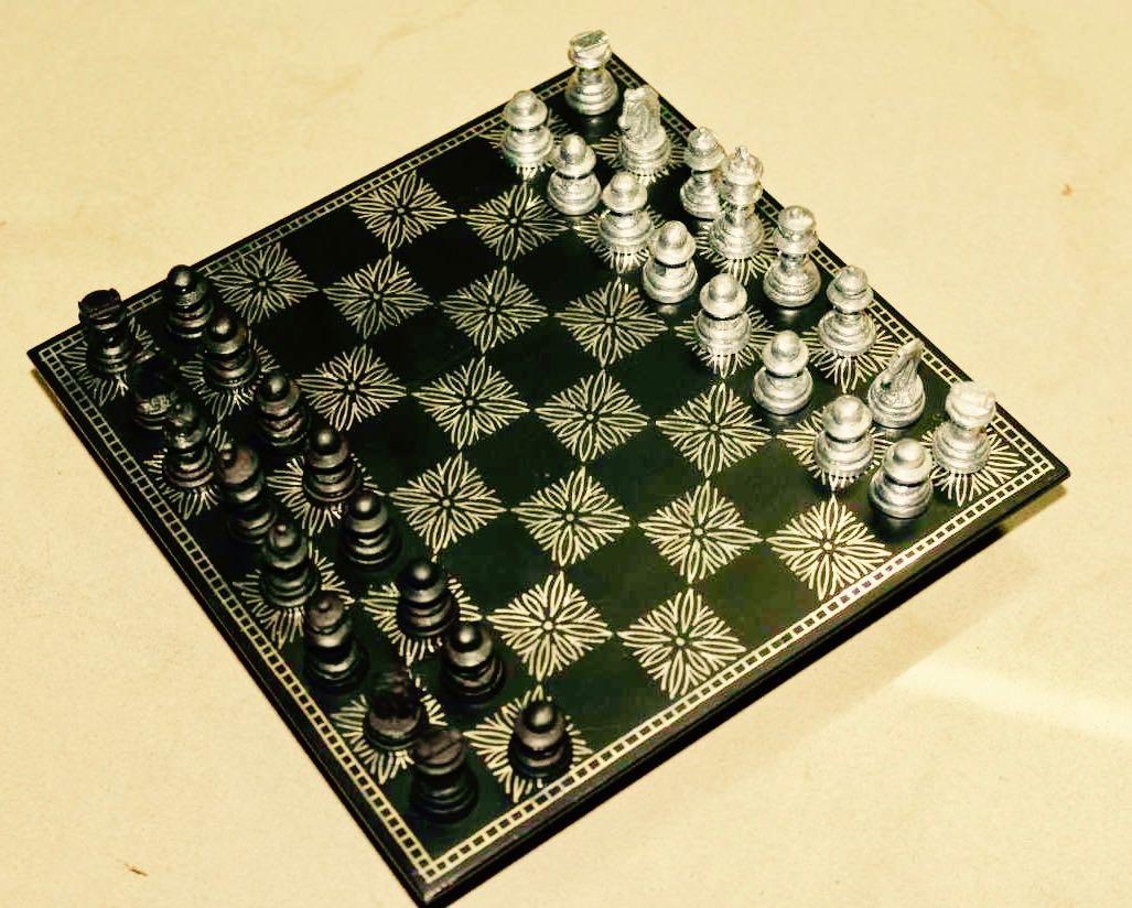 Chess set: Bidri work